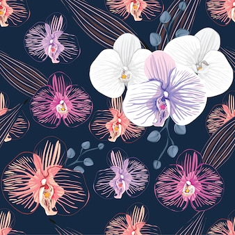 Seamless pattern orchid flowers abstract background.