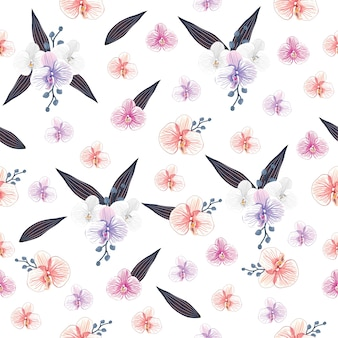 Seamless pattern orchid flowers on white background.