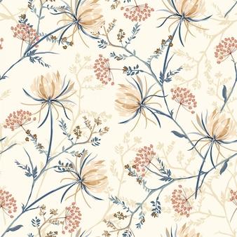 Seamless pattern of oriental blooming flower