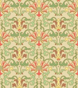 원활한 패턴 동양 중국 식물원 나선형 곡선 덩굴 꽃 잎 친츠