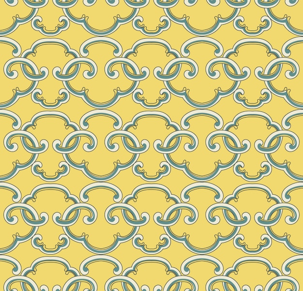 Seamless pattern oriental chinese curve spiral cross geometry frame