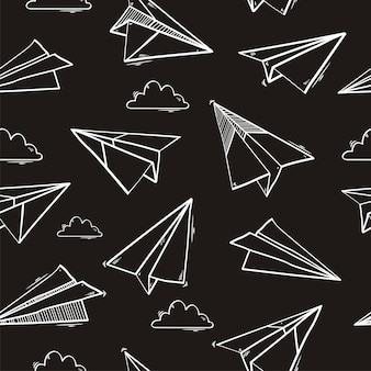 Seamless pattern of origami paper airplane
