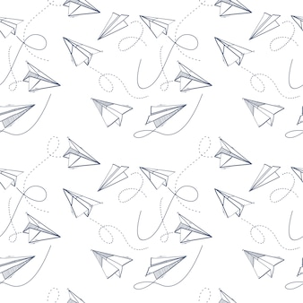Seamless pattern of origami paper plane