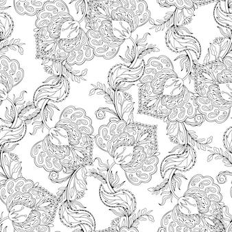 シームレスパターン飾り民俗花