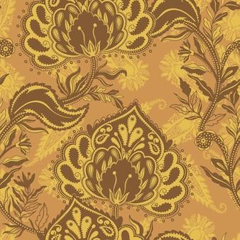 Seamless pattern ornament folk   motif rustic paisley style