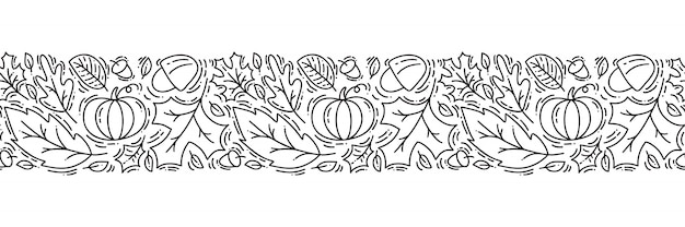 Seamless pattern ornament monoline with acorns, pumpkin and autumn oak leaves