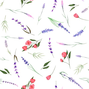 Seamless pattern, ornament of watercolor wildflowers