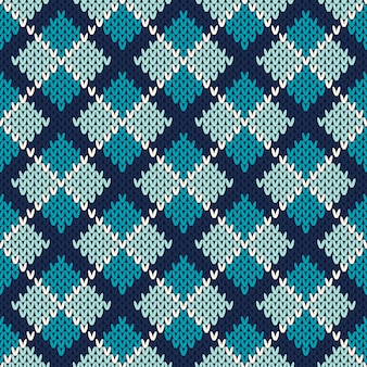 Seamless pattern ornament on the wool knitted texture