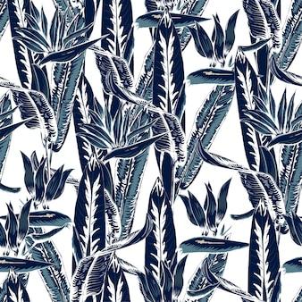 Seamless pattern ornamental plants background.