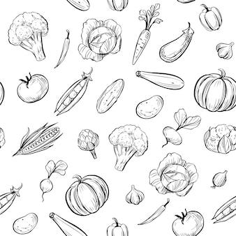 シームレスパターン。野菜の概要を説明します。落書きイラスト。