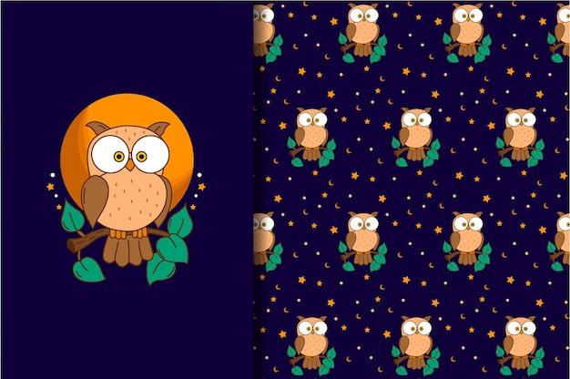 Seamless pattern owl cute