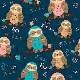 Seamless pattern of owls dreaming