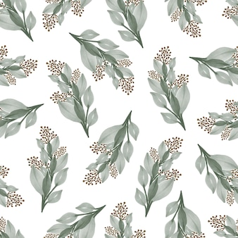 Seamless pattern of pale green wild plant for textile design