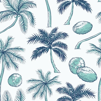 Seamless pattern of palm. different kinds of tropical palmtrees and coconut. contour sketch background monochrome turquoise