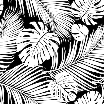 Seamless pattern palm tree leaves in black on white.