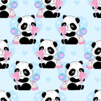 Бесшовные модели панда с конфетами сердца иллюстрации синий фон сердце