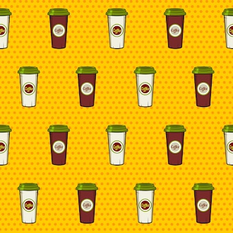 Seamless pattern of paper coffee cups on the dotted background.