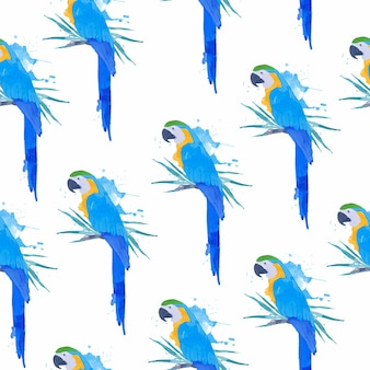 Seamless pattern of parrot in in watercolour style