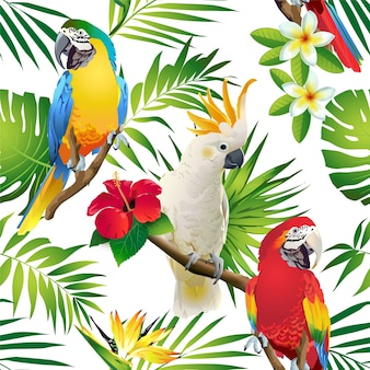 Seamless pattern of parrots cockatoo on the tropical branches with leaves and flowers on d