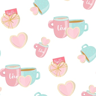 Seamless pattern in pastel colors with sweet cookies