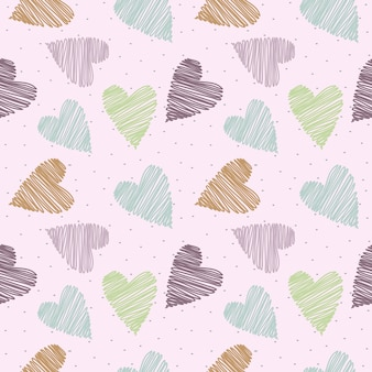 Seamless pattern pastel hand drawn heart on pink background