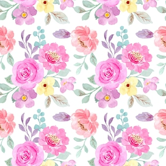 Seamless pattern of pastel pink floral with watercolor Premium Vector