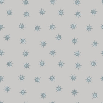 Seamless pattern in pastel tones with random little ship wheel ornament. grey background. marine style.