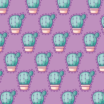 Seamless pattern patches of cactus in pots plants