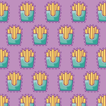 Seamless pattern of patches of delicious french fries