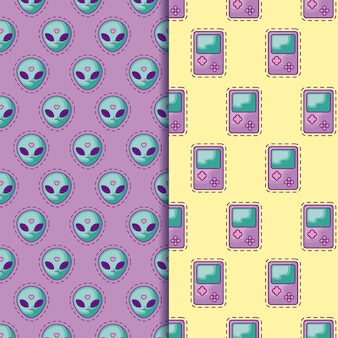 Seamless pattern patches of head alien and video game handle
