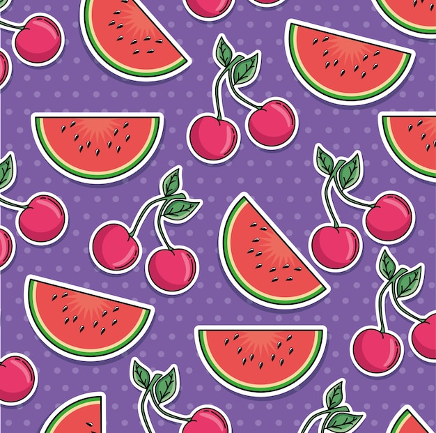 Seamless pattern of patches with fruits