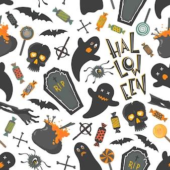 Бесшовный узор. образец с забавными персонажами и элементами хэллоуина. идеально подходит для распечаток, листовок, баннеров, приглашений, скрапбукинга, поздравлений и многого другого. векторная иллюстрация хэллоуина.