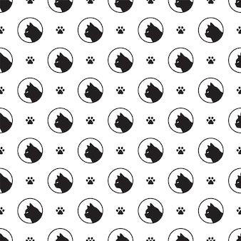 Seamless pattern paw footprint kitten