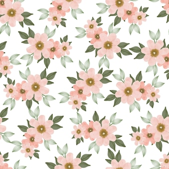 Seamless pattern of peach flower bouquet for textile design