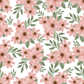 Seamless pattern of peach flower and leaf