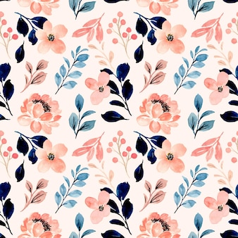 Seamless pattern of peach flower watercolor