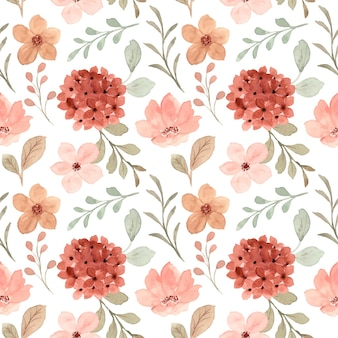 Seamless pattern of peach flower with watercolor
