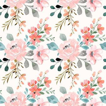 Seamless pattern of peach pink flower with watercolor