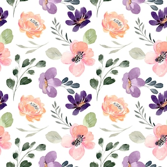 Seamless pattern of peach purple floral with watercolor Premium Vector