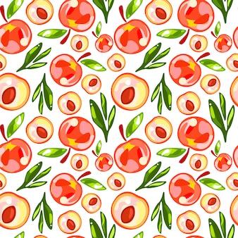 Seamless pattern of peaches