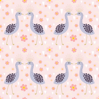 Seamless pattern peacock lover and blooming flower.