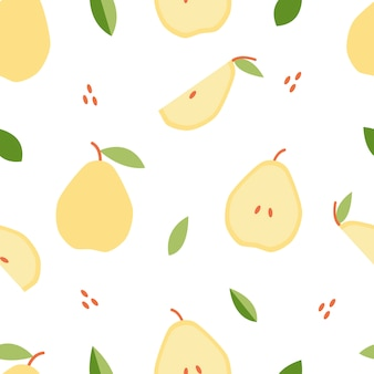 Seamless pattern pear for print, fabric in flat style.