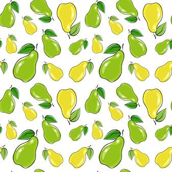 Бесшовные шаблон груши фрукты летний орнамент фон