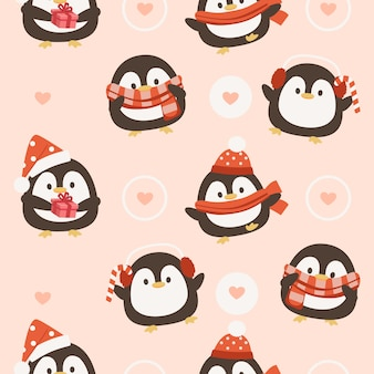 Seamless pattern of penguin with hearts