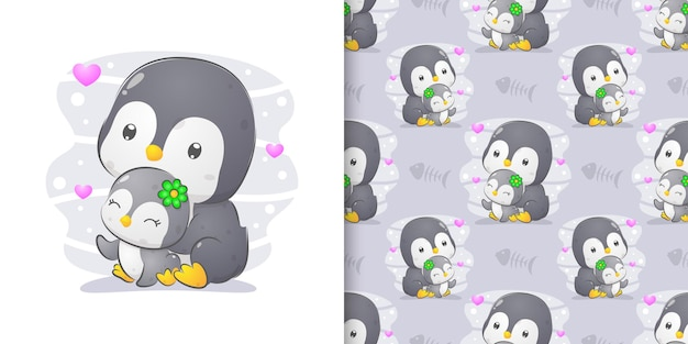 The seamless pattern of the penguin with her baby sitting full of love of illustration