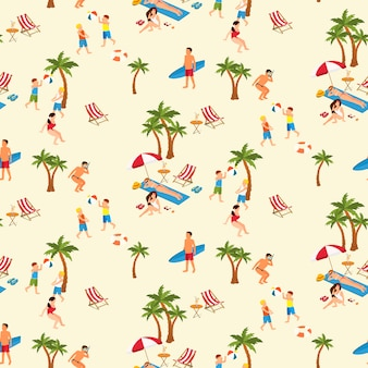 Seamless pattern of people on the beach