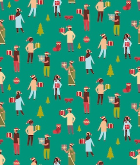 Seamless pattern of people holding gift box present, christmas theme