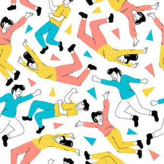 Seamless pattern people jump drawing