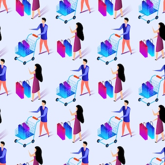 Seamless pattern of people making shiopping. print