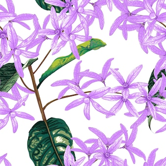 Seamless pattern petrea volubilis flowers